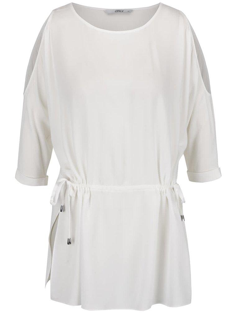 Bluză albă ONLY Brier cu șnur
