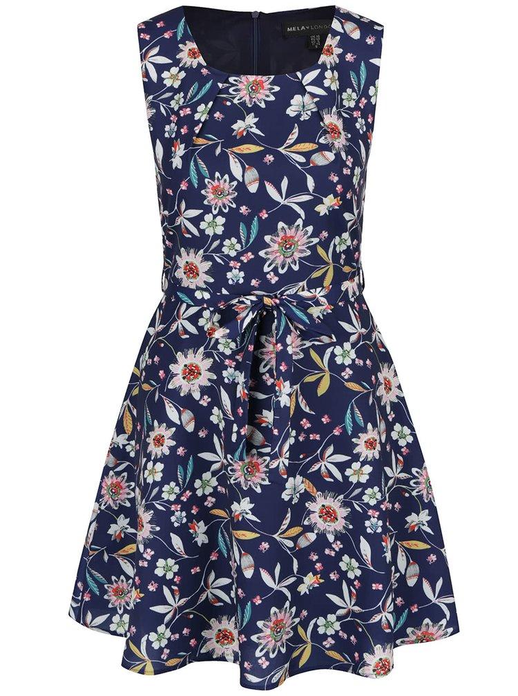 Modré květované šaty Mela London