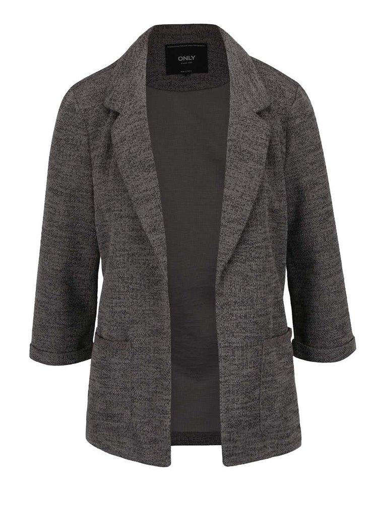 Tmavě šedé žíhané sako s 3/4 rukávy ONLY Caroline