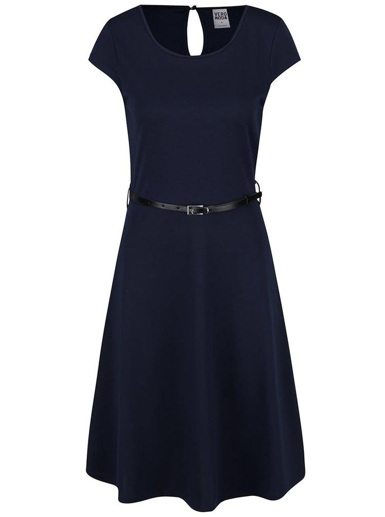 Tmavě modré šaty s páskem VERO MODA Vigga