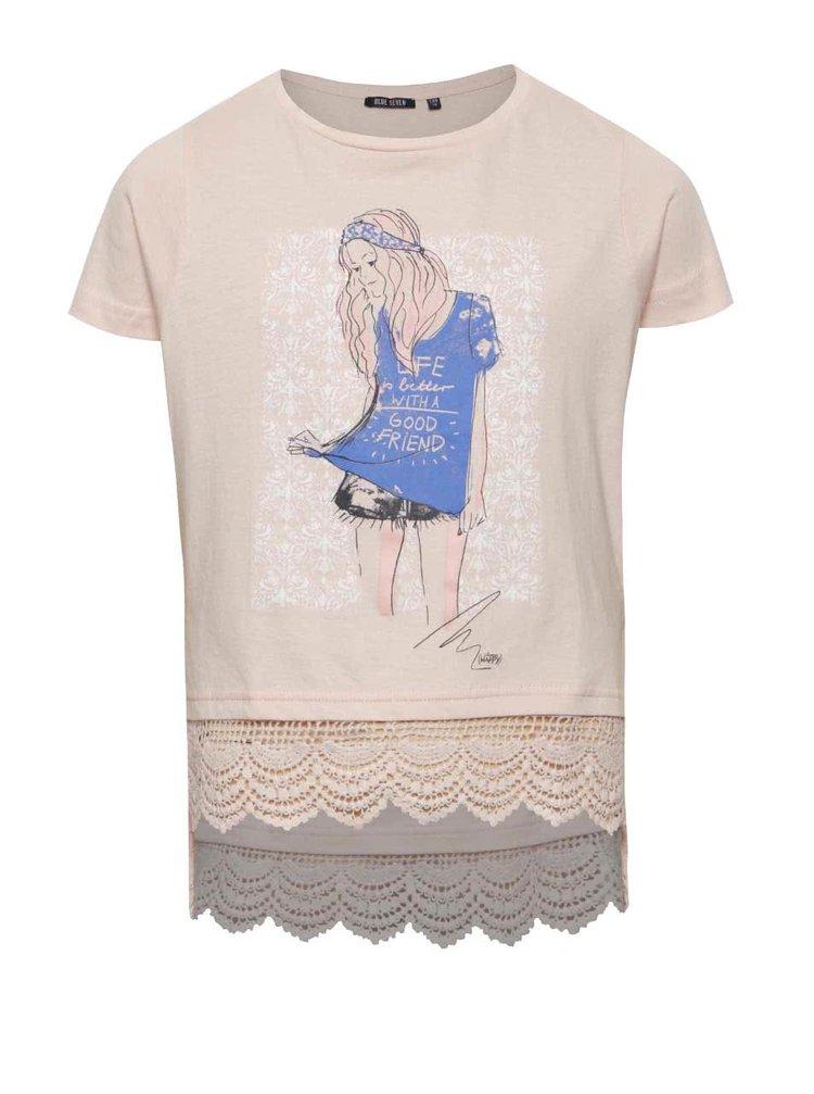 Tricou roz pudră Blue Seven din bumbac cu tiv asimetric din macrame