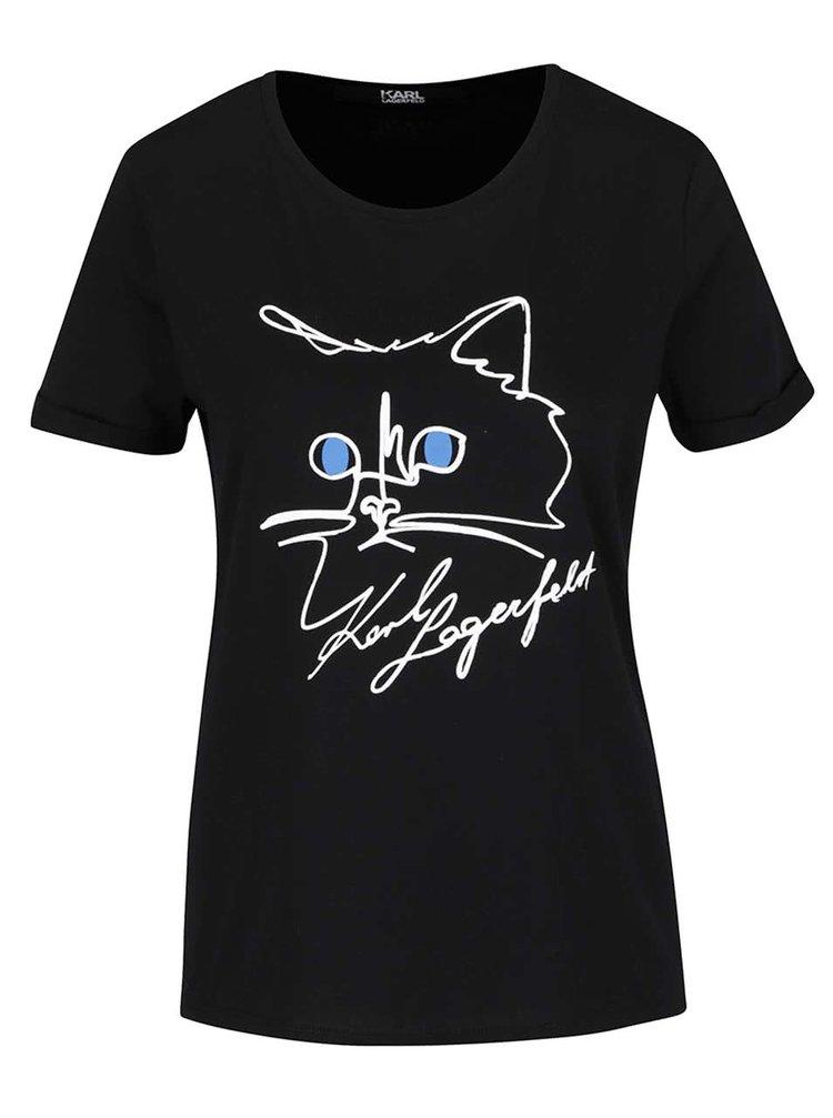 Černé tričko s motivem kočky KARL LAGERFELD