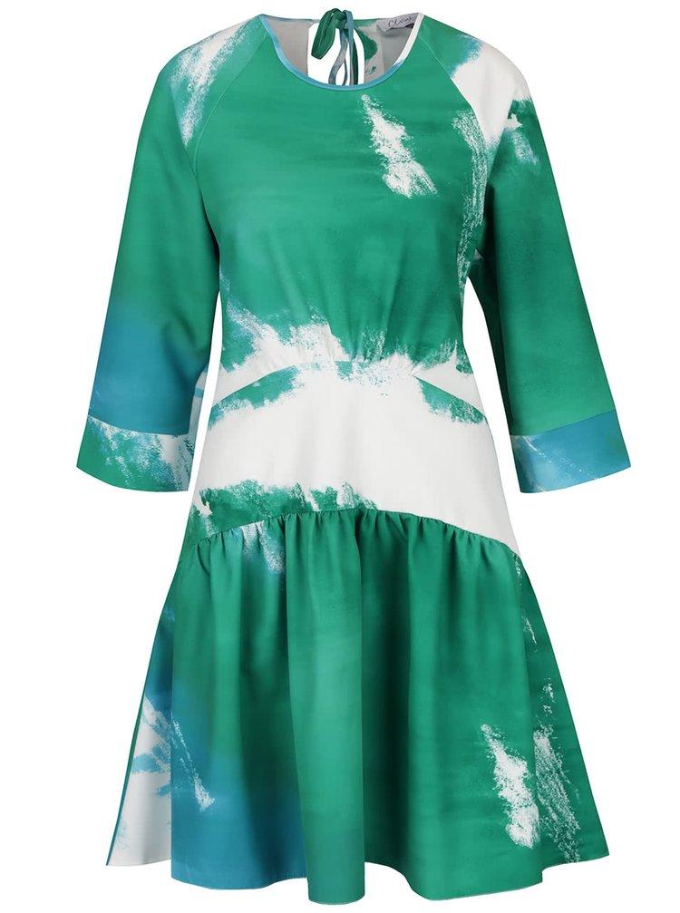 Rochie crem cu verde Closet cu talie joasă