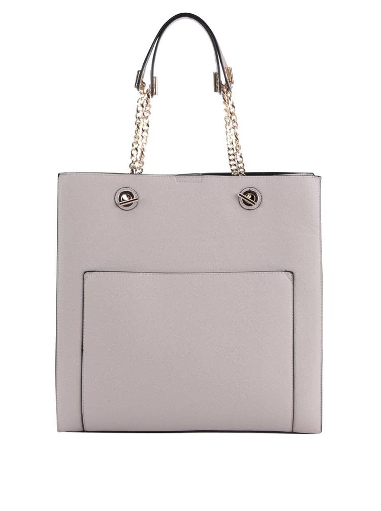 Béžová kabelka s detaily ve zlaté barvě Miss Selfridge