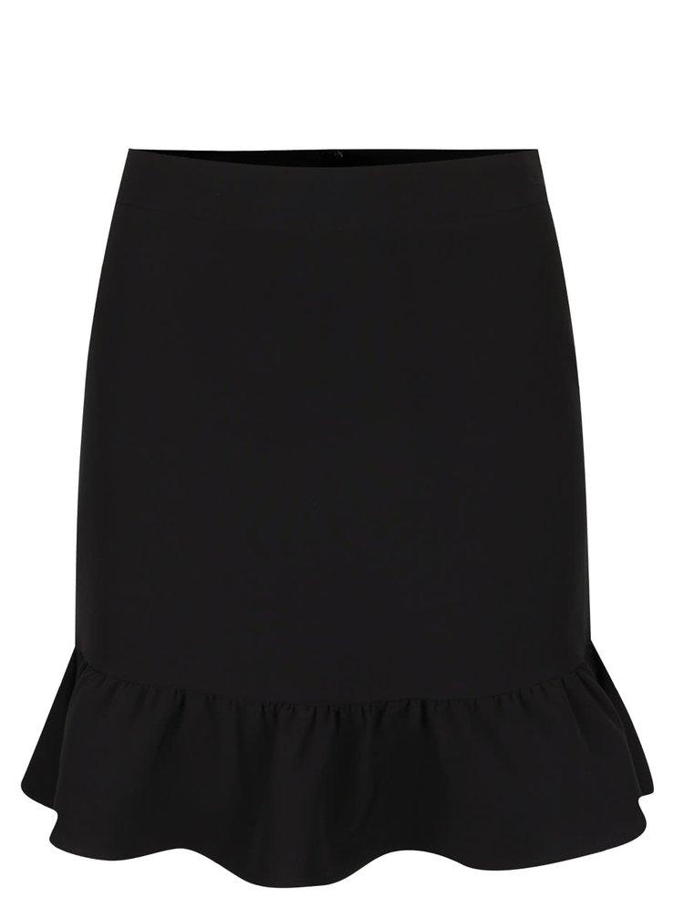 Černá sukně s volánem Miss Selfridge