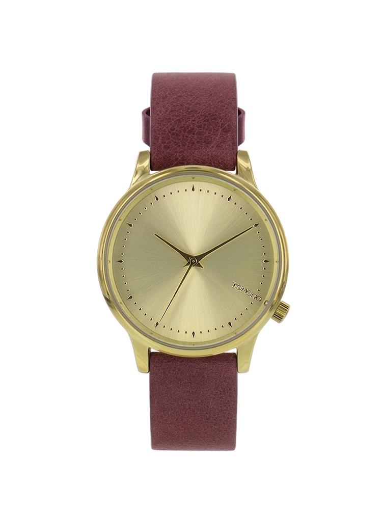 Dámske hodinky v zlatej farbe s koženým remienkom Komono Estelle Lotus
