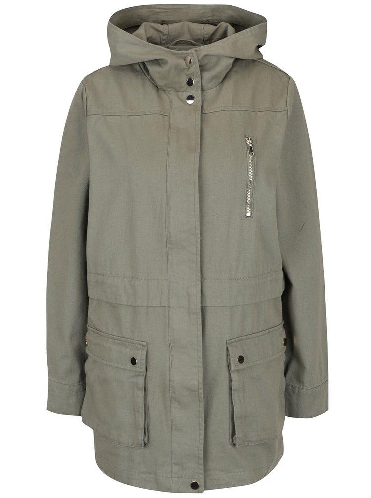 Jachetă parka kaki Miss Selfridge din bumbac