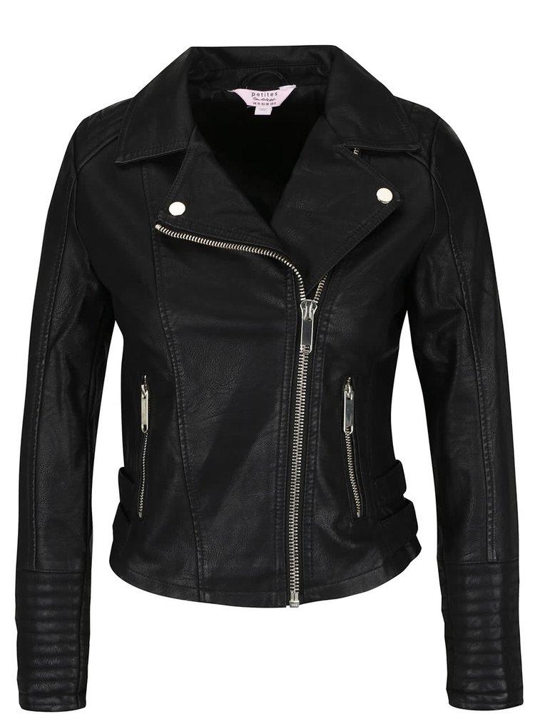 Jachetă neagră Miss Selfridge Petites din piele ecologică