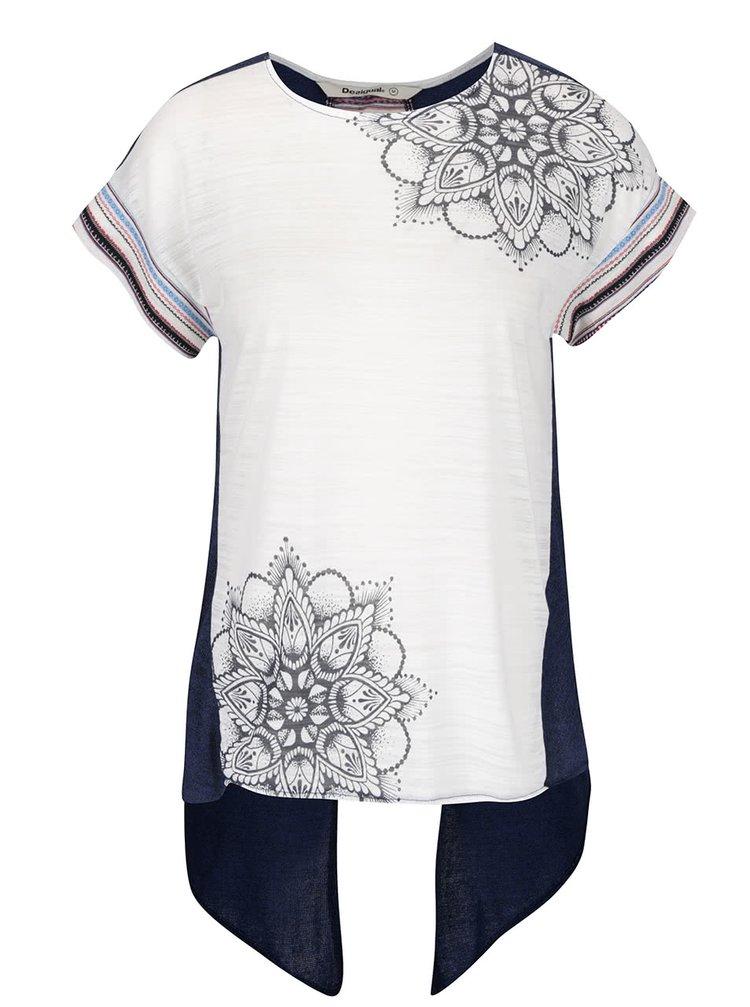 Tricou asimetric alb & albastru Desigual Creta cu model și print