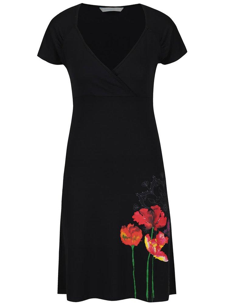 Černé šaty s krátkými rukávy Desigual Clau