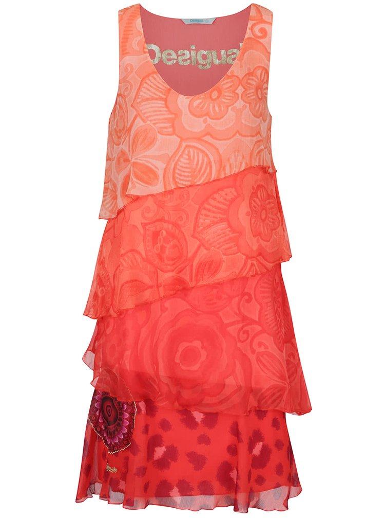 Rochie roșie Desigual Nerea cu volane
