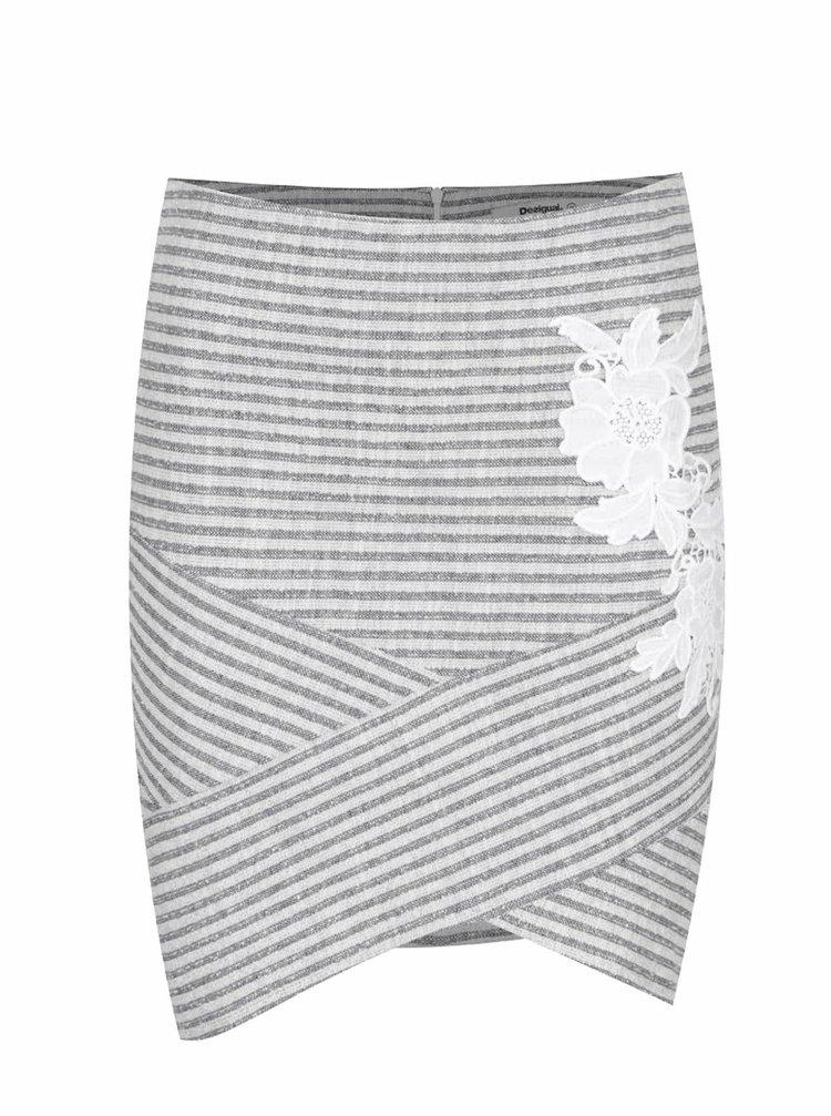 Šedá pruhovaná sukně Desigual Marti