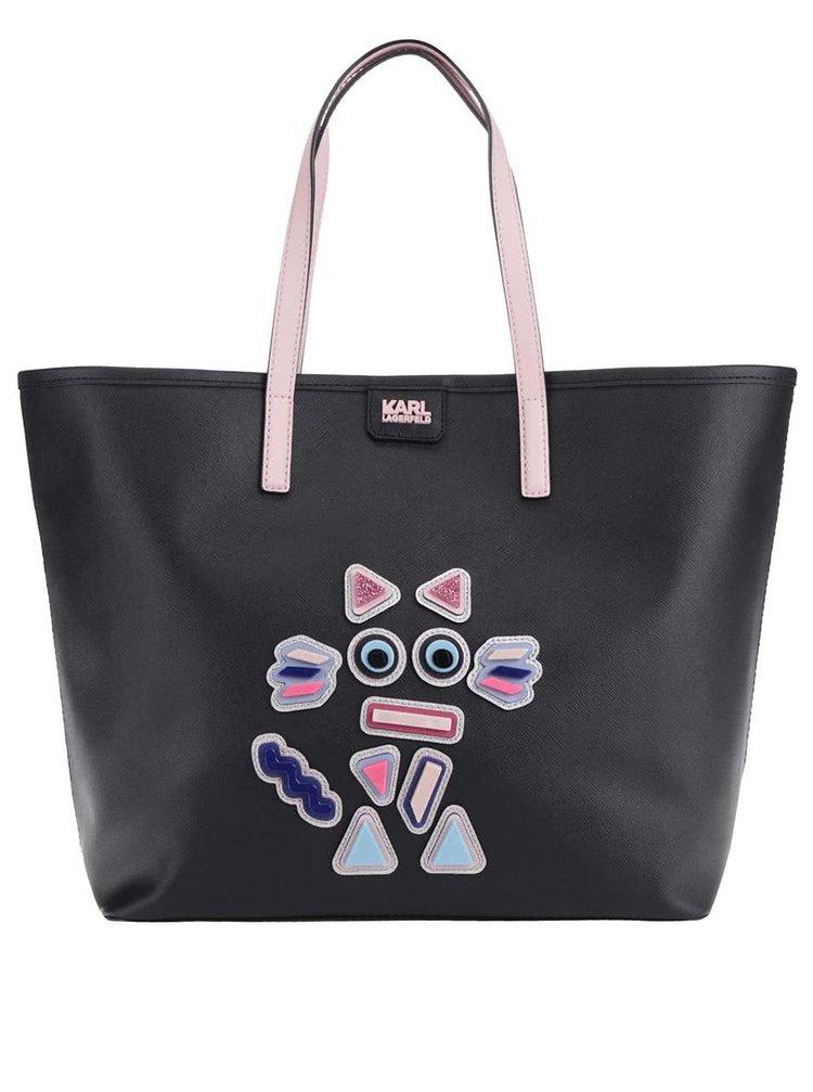 Růžovo-černý shopper s koženými detaily KARL LAGERFELD