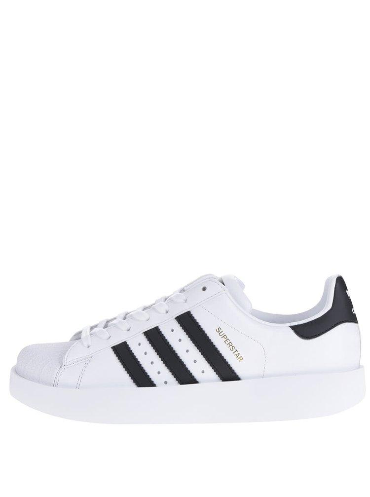 28250cf01 Bílé dámské kožené tenisky na platformě adidas Originals Superstar ...