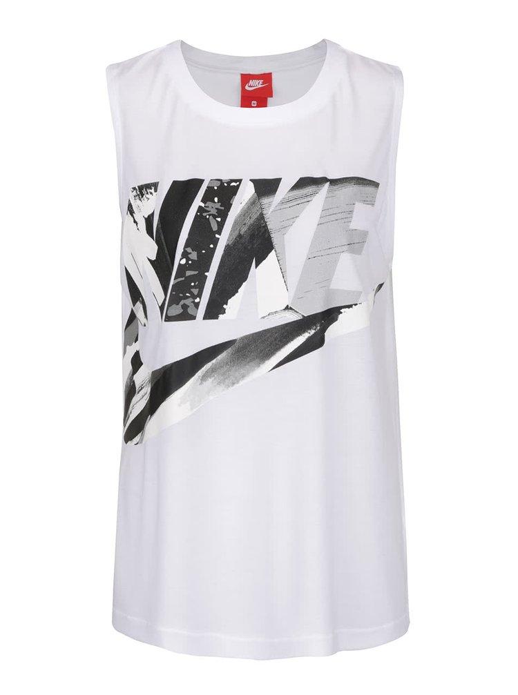 Maiou alb Nike Sportswear cu print