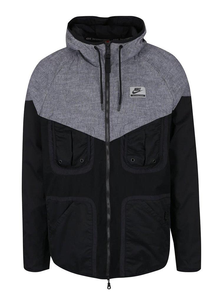 Šedo-černá pánská sportovní bunda Nike