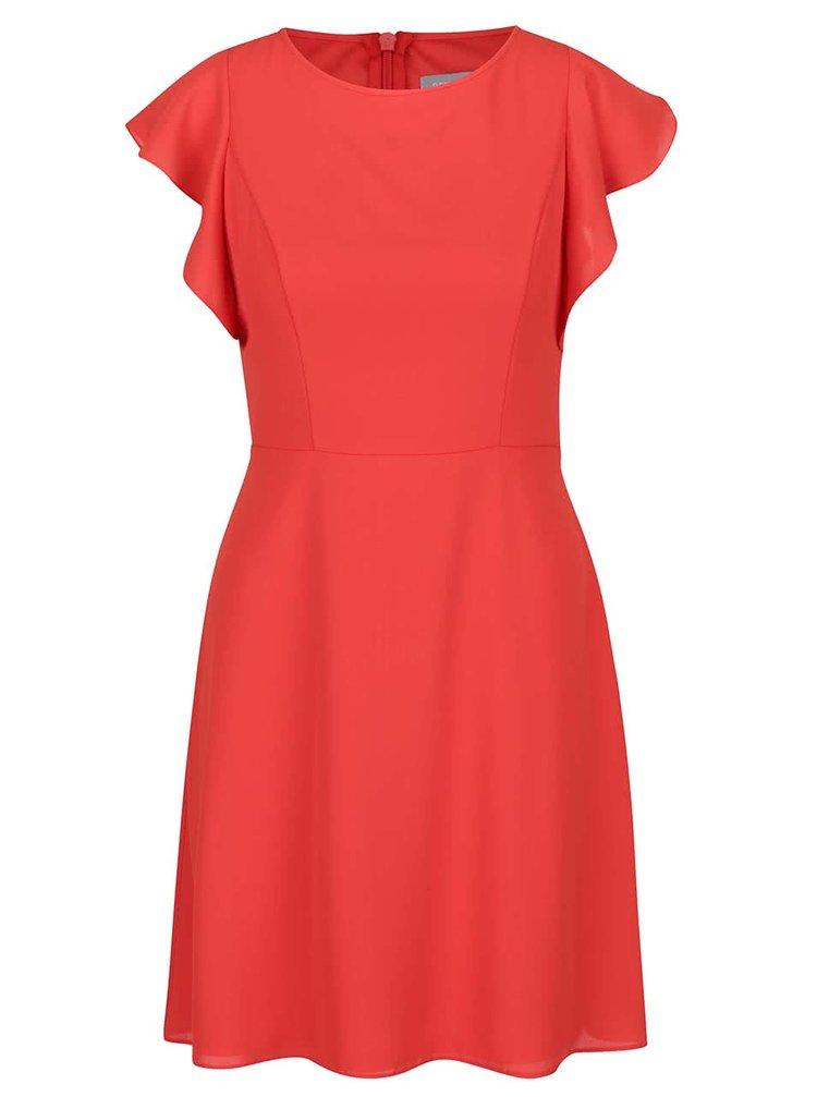 Červené šaty s volánky Dorothy Perkins Petite