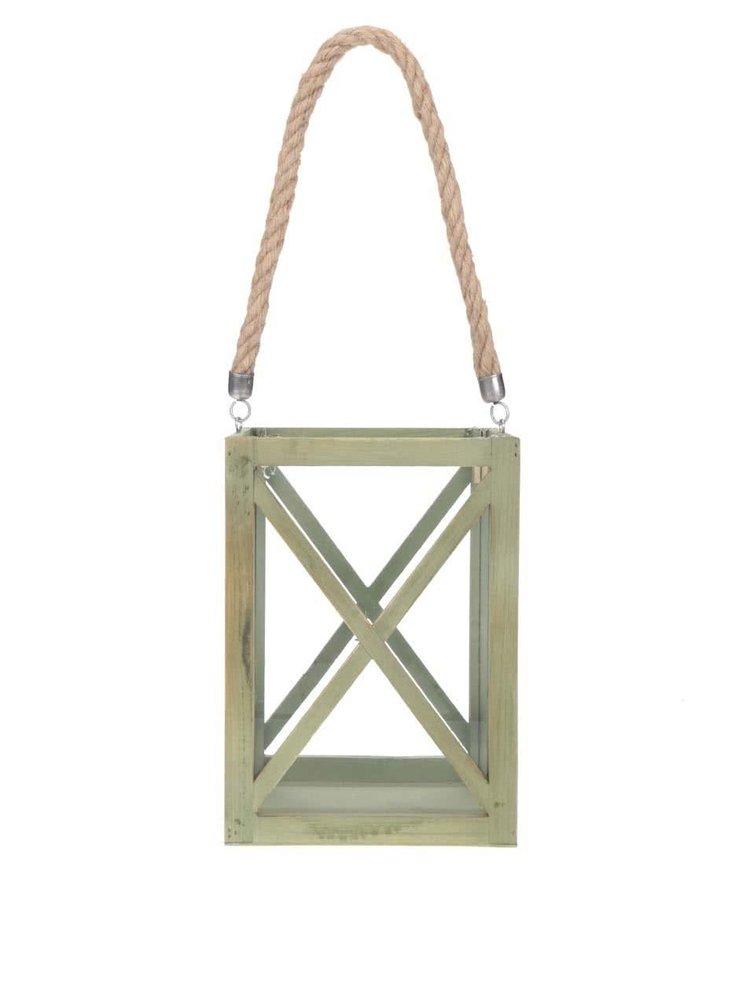 Zelený dřevěný svícen se světlým provazem Dakls