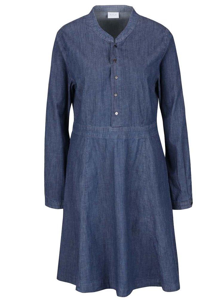 Tmavomodré rifľové šaty VILA Liny
