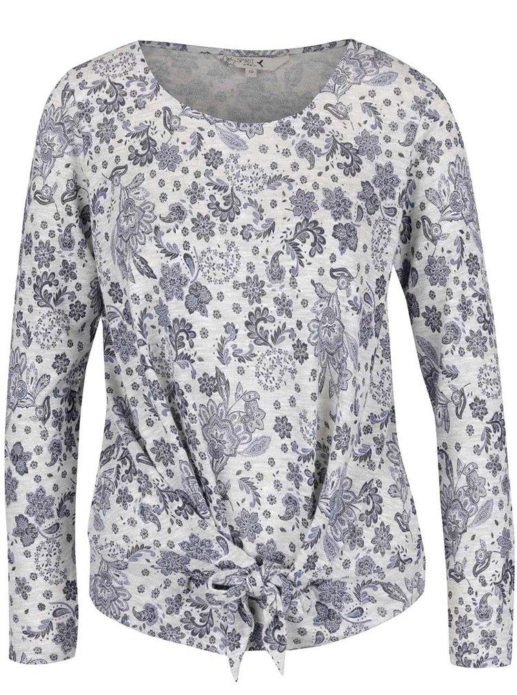 Bluză gri cu model M&Co cu nod decorativ