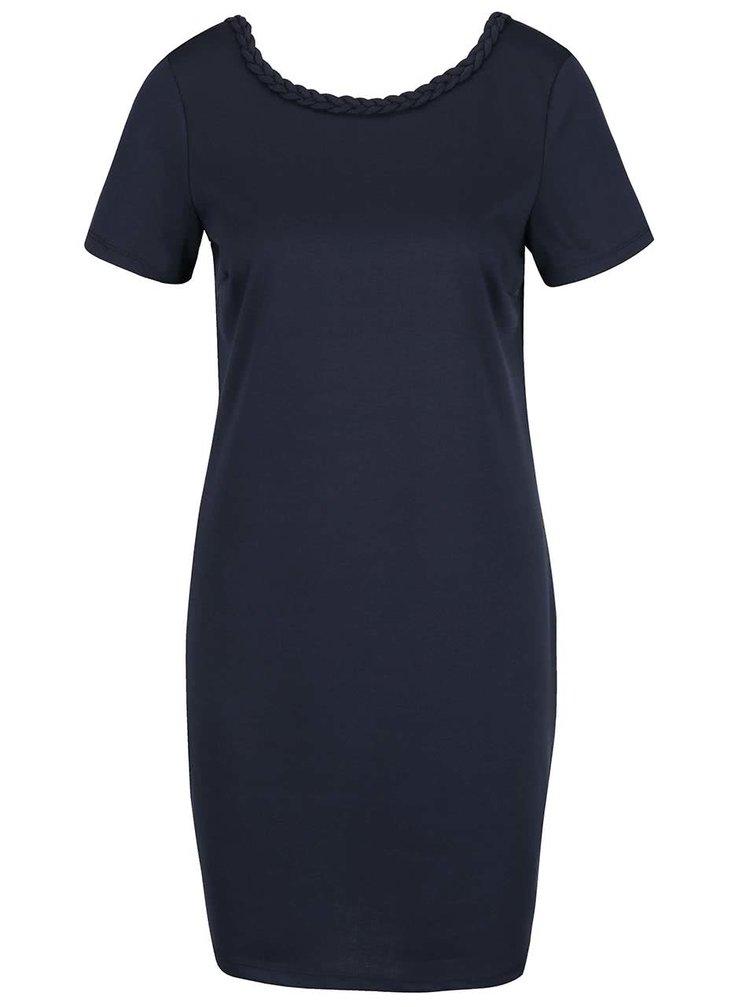 Tmavě modré šaty s ozdobným lemem VILA Braide