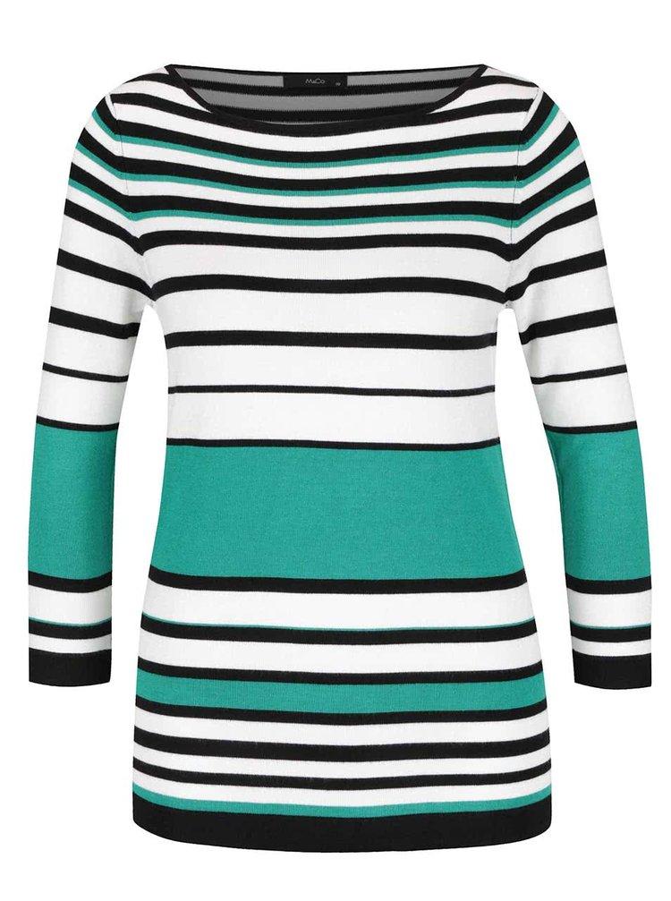 Pulover verde & alb M&Co cu model în dungi și mâneci trei sferturi