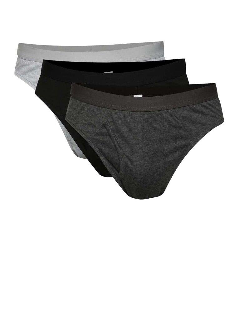 Sada tří slipů v černé a šedé barvě M&Co