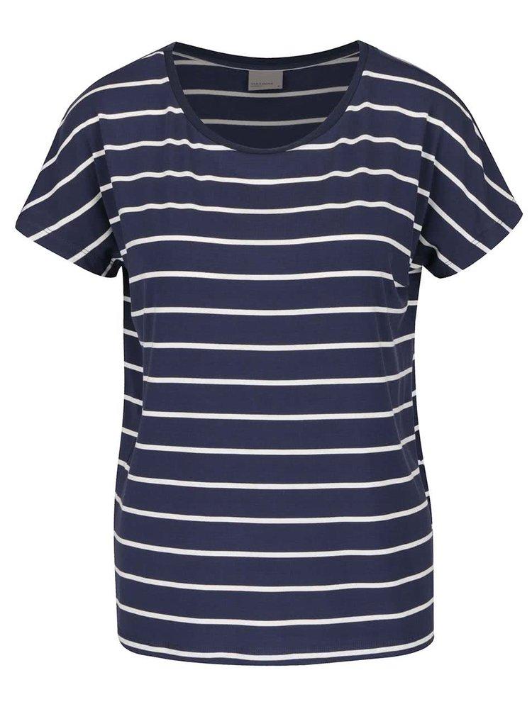 Tmavě modré pruhované basic tričko VERO MODA Charly