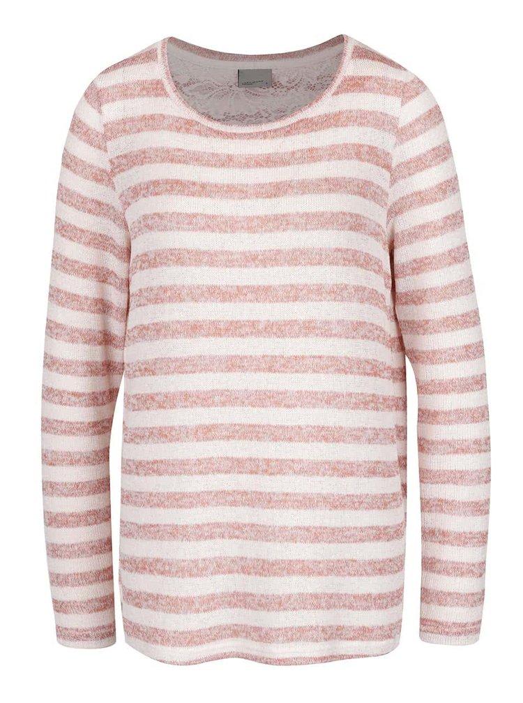Růžový pruhovaný svetr s krajkovými zády VERO MODA Almond