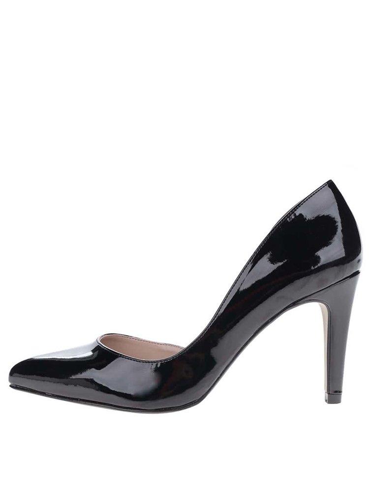 Pantofi negri de lac cu toc stiletto OJJU