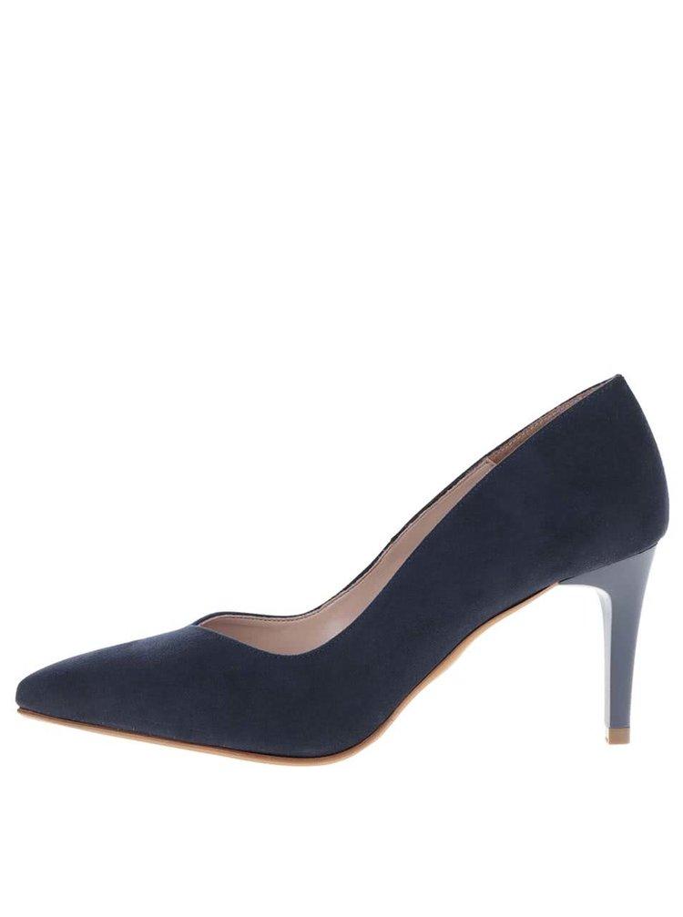 Pantofi albastru închis cu aspect de piele întoarsă OJJU