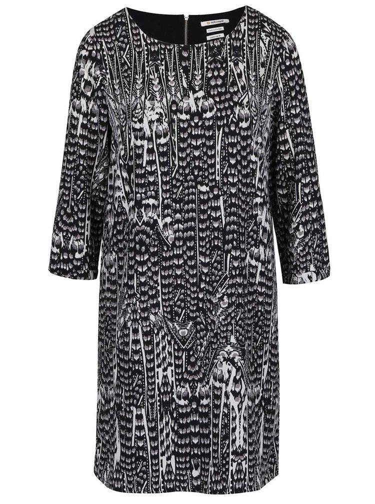 Rochie gri & negru Rich & Royal cu model și mâneci trei sferturi