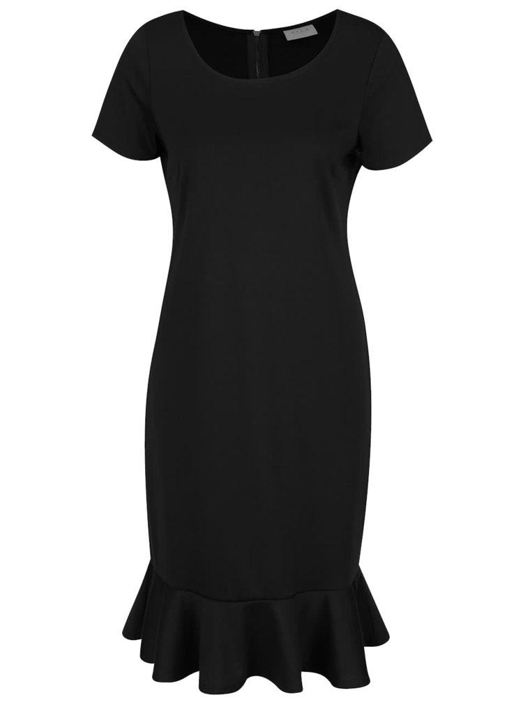Rochie neagră VILA Hemruffle cu mâneci scurte
