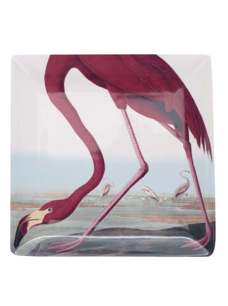 Červeno-krémová velká miska s potiskem Magpie Birds