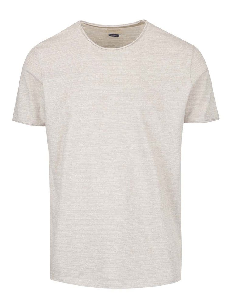 Béžové žíhané triko Selected Homme Garet