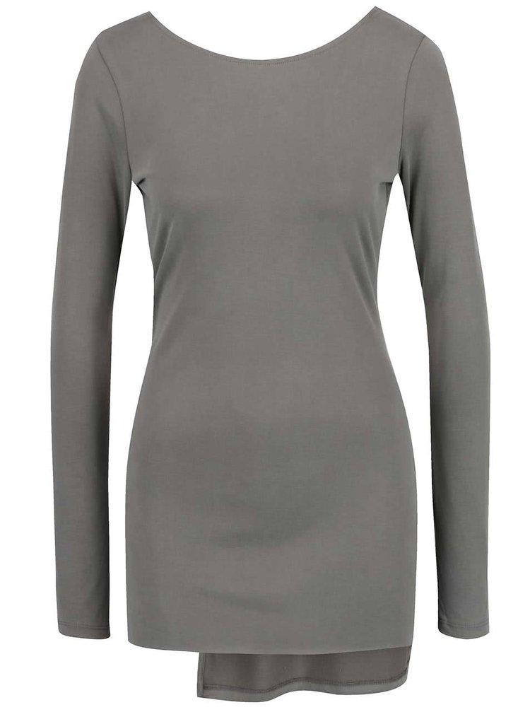 Bluză gri deschis Miss Selfridge cu tiv asimetric