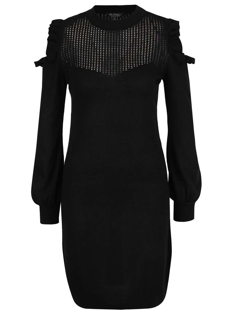 Černé šaty s průstřihy na ramenou Miss Selfridge