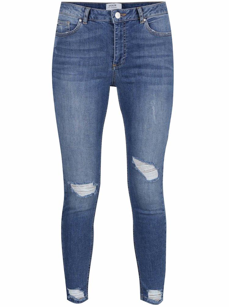Modré super skinny džíny s potrhaným efektem Miss Selfridge
