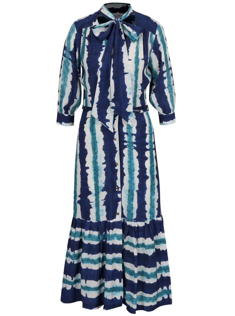 Rochie maxi albastru&verde Closet cu volane si model acuarela
