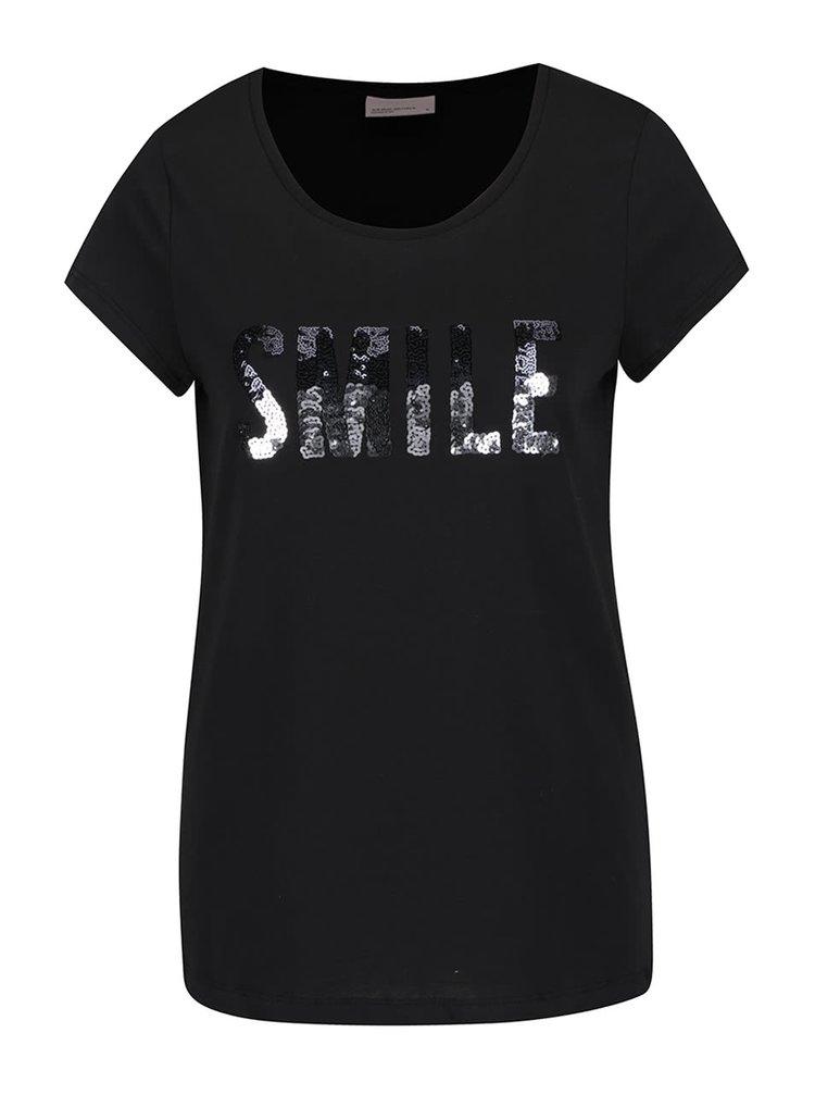 Tricou negru VERO MODA Wivi cu aplicații