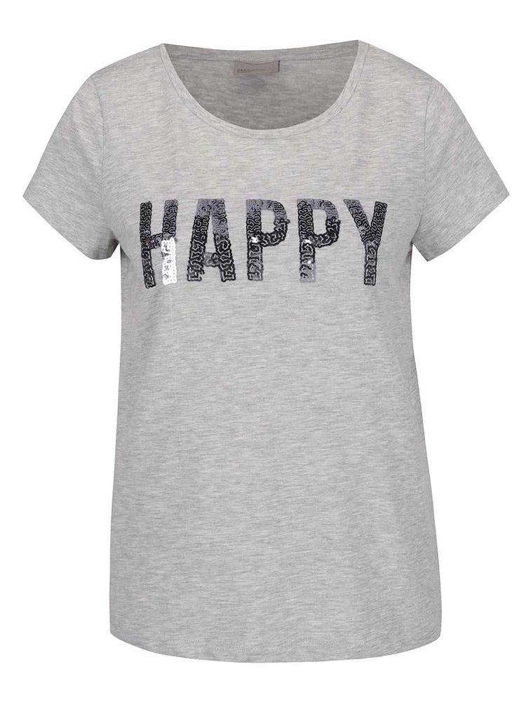 Sivé melírované tričko s nápisom z flitrov VERO MODA Wivi