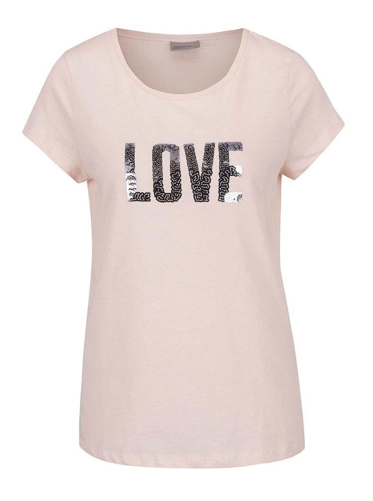 Tricou roz VERO MODA Wivi cu aplicații