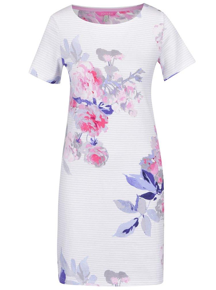 Rochie albă Tom Joule Riviera Print din bumbac cu model floral și model în dungi