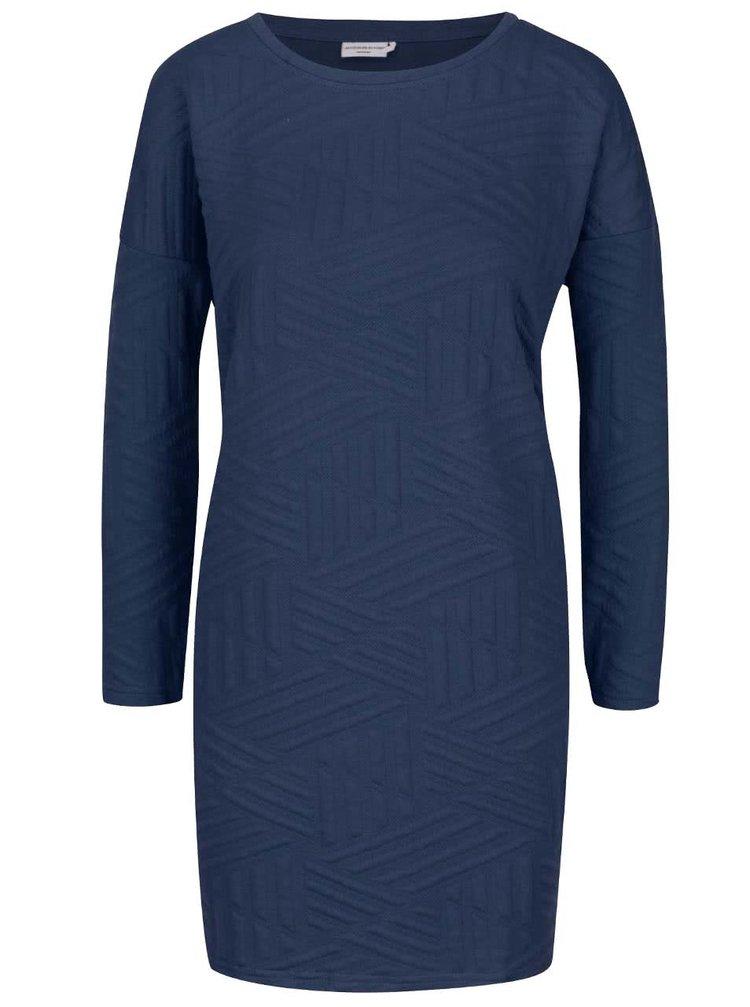 Tmavě modré šaty s dlouhým rukávem Jacqueline de Yong Fiona