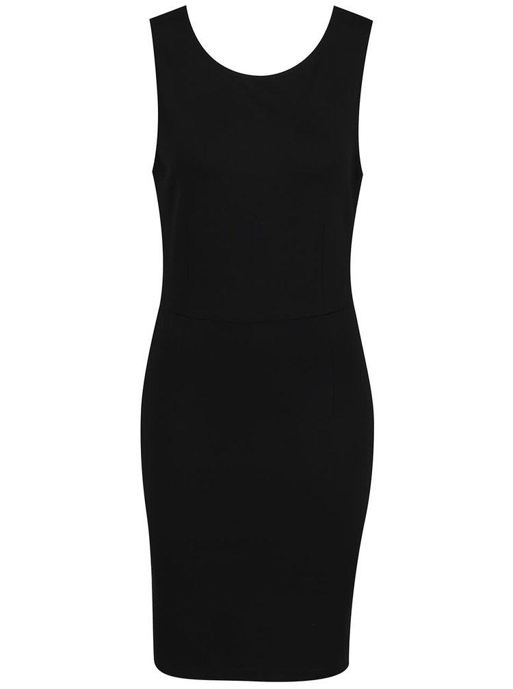 Černé pouzdrové šaty s krajkou na zádech VILA Gemma