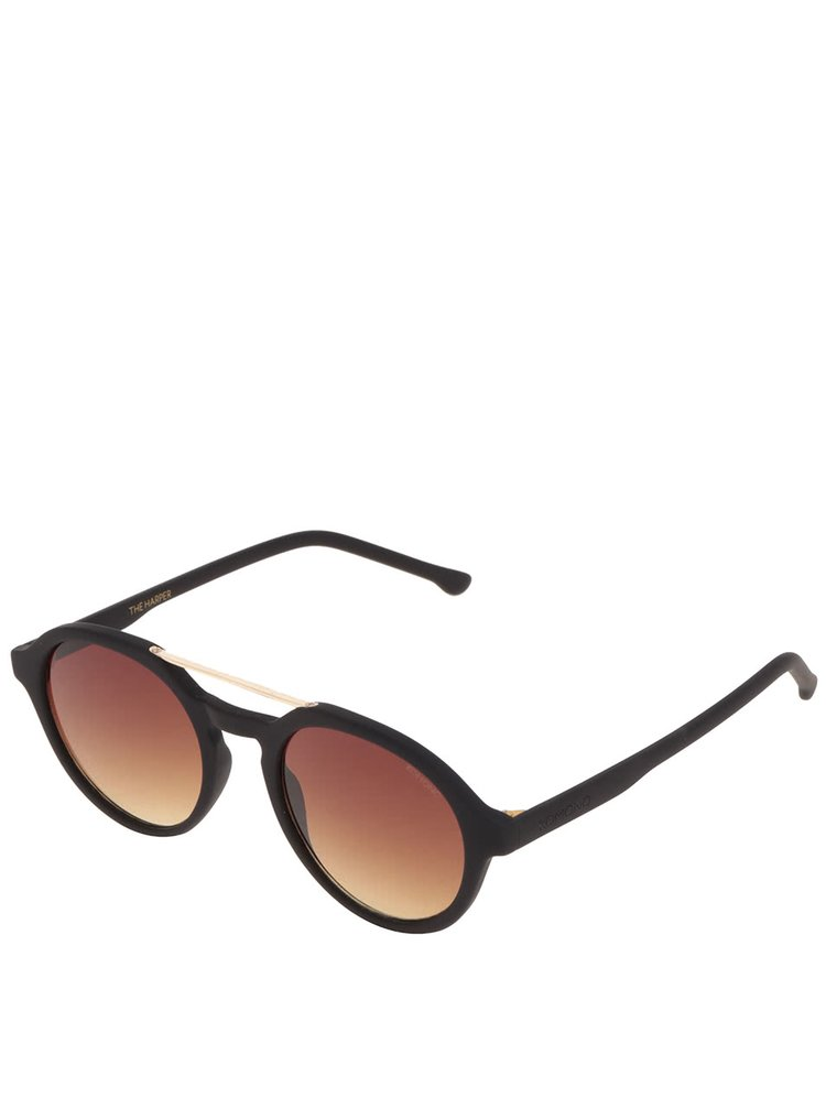 Ochelari de soare negri unisex Komono Harper cu logo