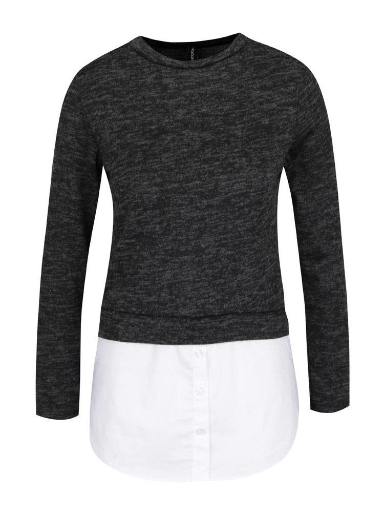 Bluza neagra Madonna Ilona cu aspect 2in1