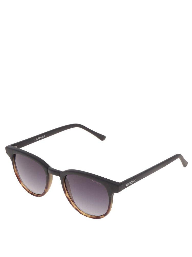 Černé žíhané pánské sluneční brýle Komono Francis
