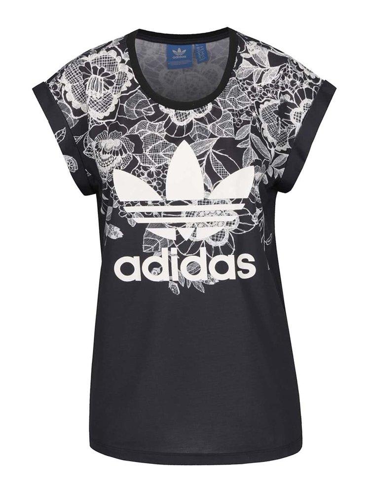 Černé dámské vzorované tričko adidas Originals Florido
