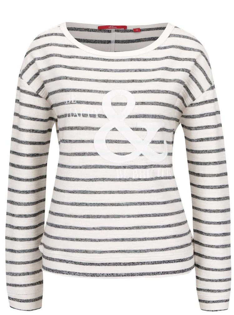 Bluza crem s.Oliver cu model in dungi si print